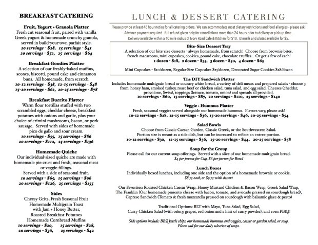 catering menu for email