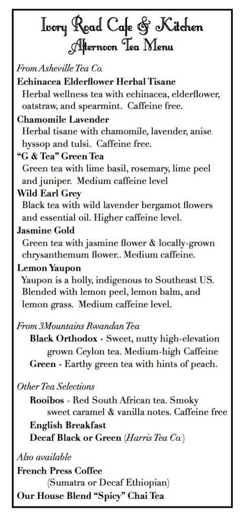 teas menu